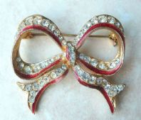 Large Rhinestone Bow Brooch By Sterling Mint